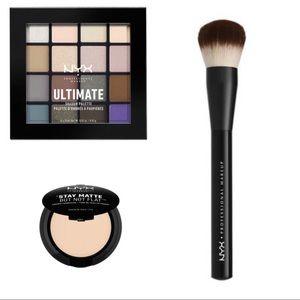 NYX Eyeshadow, Powder Foundation & Buffing Brush